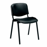 Iso- Vinyl Black Framed Stackable Conference/Meeting Chair - Black - Minimum Order Quantity-10