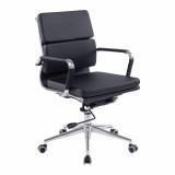 Avanti- Contemporary Medium Back Leather Effect Executive Armchair With Chrome Base - Black
