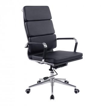 Avanti- Contemporary High Back Leather Effect Executive Armchair With Chrome Base - Black