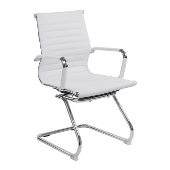 Aura- Contemporary Medium Back Leather Effect Visitors Chair - White