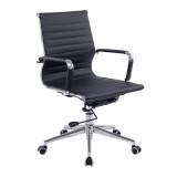 Aura- Contemporary Medium Back Leather Effect Executive Armchair With Chrome Base - Black