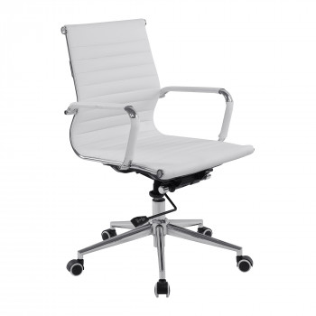 Aura- Contemporary Medium Back Leather Effect Executive Armchair With Chrome Base - White