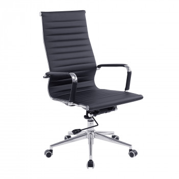 Aura- Contemporary High Back Leather Effect Executive Armchair With Chrome Base - Black