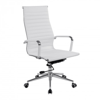 Aura- Contemporary High Back Leather Effect Executive Armchair With Chrome Base - White