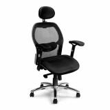 Hermes- High Back Mesh Executive Armchair With Headrest And Chrome Base - Black