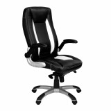 Friesian, High back executive chair with satin chrome base- Black and White