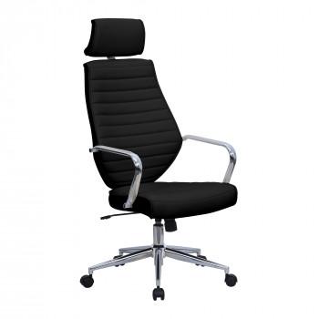Atlas- High Back Leather Effect Designer Chair- Black