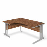 Ergonomic Left Hand Corner Desk - 1600mm - Walnut-Silver legs