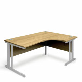 Ergonomic Right Hand Corner Desk - 1600mm - Oak-Silver legs