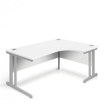 Ergonomic Right Hand Corner Desk - 1600mm - White-Silver legs
