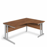 Ergonomic Right Hand Corner Desk - 1600mm - Walnut- Silver legs