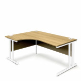 Ergonomic Left Hand Corner Desk - 1600mm - Oak-White legs
