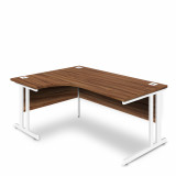 Ergonomic Left Hand Corner Desk - 1600mm - Walnut- White legs