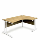 Ergonomic Right Hand Corner Desk - 1600mm - Oak-White legs