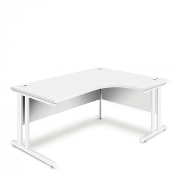Ergonomic Right Hand Corner Desk - 1600mm - White-White legs