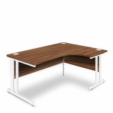 Ergonomic Right Hand Corner Desk - 1600mm - Walnut- White legs