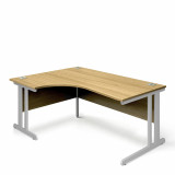 Ergonomic Left Hand Corner Desk - 1800mm - Oak-Silver legs