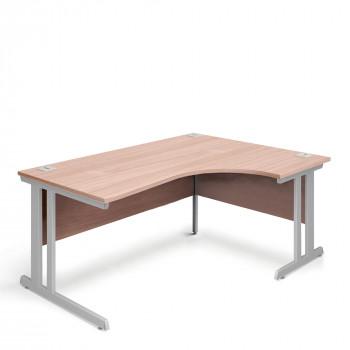 Ergonomic Right Hand Corner Desk - 1800mm - Beech-Silver legs
