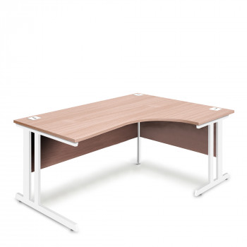 Ergonomic Right Hand Corner Desk - 1800mm - Beech-White legs