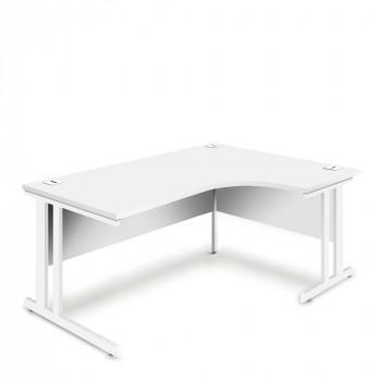 Ergonomic Right Hand Corner Desk - 1800mm - White-White legs