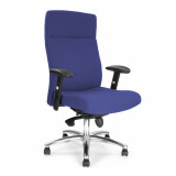 Jester-High Back Synchro Executive Armchair With Adjustable Arms And Chrome Base - Blue