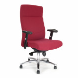 Jester-High Back Synchro Executive Armchair With Adjustable Arms And Chrome Base - Wine